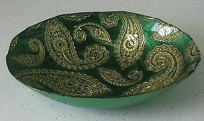 Lovely Art Glass Candy Dish Unique Green & Gold Pressed Design Some Hand Painted