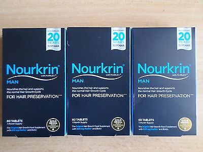 3 X Nourkrin Man 60 Tablets For Hair Preservation  3 Months Supply