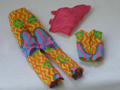 FM Twiggy Psychodelic Flower Vest Pants Scarf outfit ONLY fit 15-16in dolls Rini