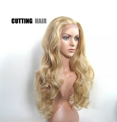 SKIN Top Invisible Lace Front GLUELESS Ash Blonde Mix Long Curly Wig L13-18/613