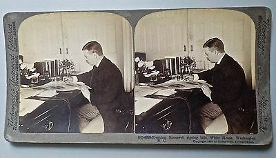 President Theodore Roosevelt Signing Bill White House Stereoview 1903