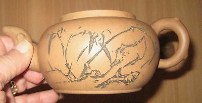 Round Yixing Chinese Pottery Marked Tea Pot With Incised Script Decor