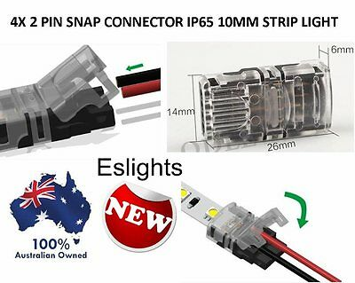 4X New 10Mm Snap Connector 2 Pin Wire Waterproof Led Strip Light Solderless