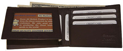 Mens Genuine Cowhide Leather Credit/ID Card Holder Bifold Wallet Slim Purse Gift