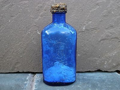 Vintage Medical Apothecary Milk of Magnesia Blue Glass Bottle 1906