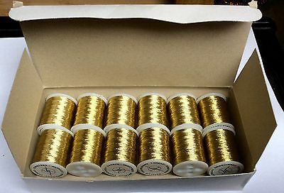 Box of Gold Metallic Embroidery Thread, 12 spools, 25 m long each. Brand New