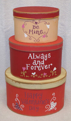"""""""happy Valentines Day"""" Stacking Nesting Boxes (Set Of 3) New!  Perfect Gift!"""