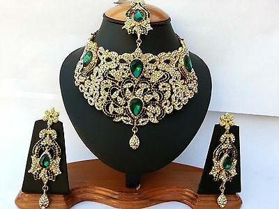 Indian Bollywood Jewellery Set Delicate Style Gold Plated Green Clear New -Aq/07