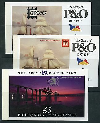 Weeda Great Britain Overprinted Prestige booklets HAFNIA/CAPEX Stamp Expo issues