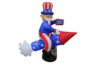Patriotic Inflatable  6 Ft Long Uncle Sam On Rocket 4Th Of July Party Decoration
