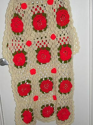 Vintage Hand Crochet Knitted Afghan Throw Red Roses Flowers 28x60 Shabby Cottage