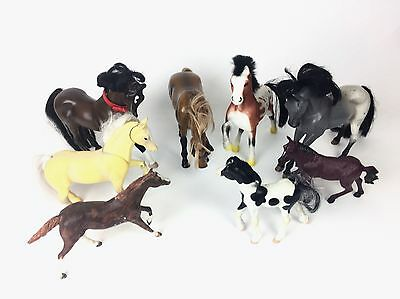 8 Play Toy Horse Figures Mixed Lot: Flocked Moving + Sounds