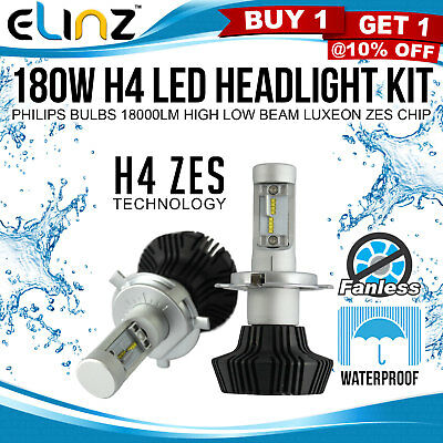 180W H4 LED Headlight Kit Philips Bulb 18000LM Fanless High Low Beam Car 12V 24V