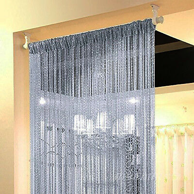 String Door Curtain Beads Room Divider Window Panel Crystal Fringe ...