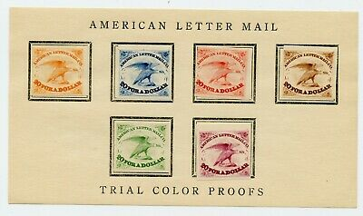 Weeda USA 5L1 VF Set of 6 trial color reprint proof singles on card, 1844 Locals