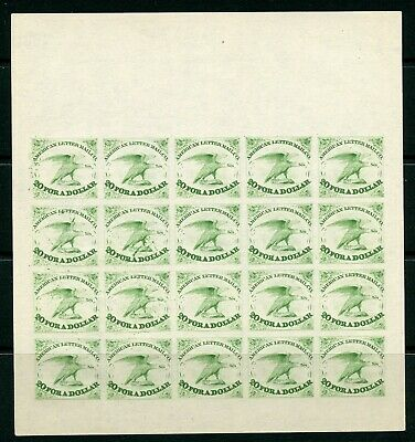 Weeda USA 5L1 Local American Letter Mail Co Complete Reprint proof sheet, Green