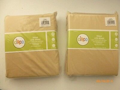 Circo Fitted Crib Sheets KHAKI 100% Cotton NEW Lot of 2