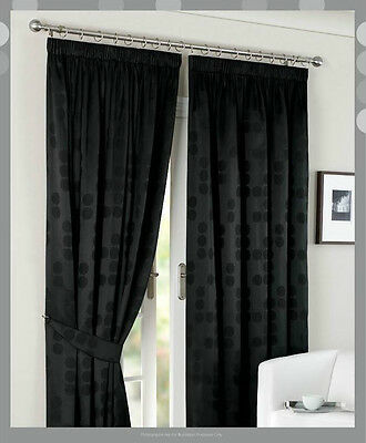 """PolyCotton Jacquard-90""""x90"""" Ready Made Fully Lined Curtain Pair+Tie Backs"""