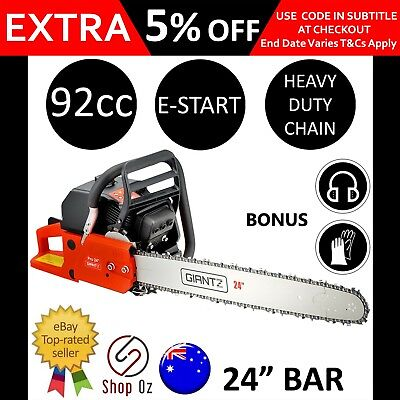 """New 92cc PETROL CHAINSAW CHAIN SAW 24"""" Bar Commercial E-Start Power Pruning Tree"""