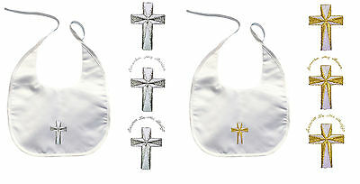 Baby Christening Baptism White Bib Wipes Gold Silver Embroidery Guadalupe Maria