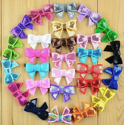 Pair of Girls/Baby kids children sequin bow with hair clips hair accessories