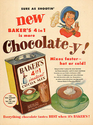 1952 vintage AD  BAKER'S 4 in 1 COCOA MIX hot or cold Art Cowboy Boy  072815