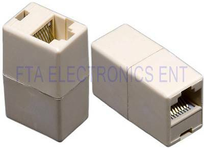 2Pcs RJ45 Connector Coupler Extension Broadband Ethernet Network Cat6 Lan Cable