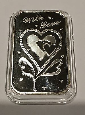 Valentine's Day Gift Present Love Hearts 1 Troy Oz .999 Fine Silver Proof Bar 14