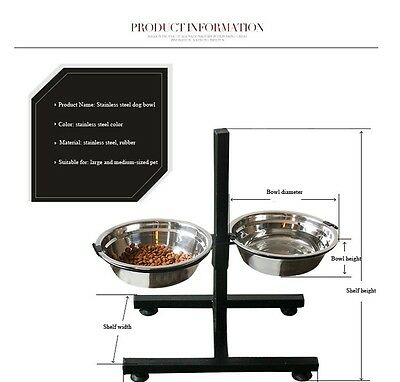 Adjustable Double Stainless Steel Diner Bowls with Stand Fun Feeder Cat Dog