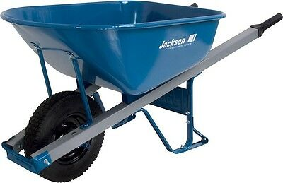 6 cu. ft. Heavy Gauge Seamless Steel Wheelbarrow Outdoor Garden Yard Equipment