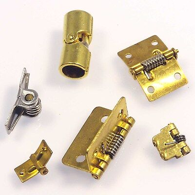 Mixed sizes types Mini Spring Hinges Brass Silver Tone Metalwork,  Woodwork