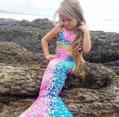MERMAID LYCRA Swimming Tail + Top Set sz Available 2,4,6,8,10 kids FREE Post