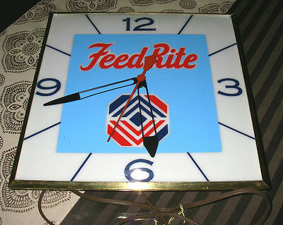Vintage PAM Lighted Advertising Clock Feed Rite Feed Sign Livestock Feed Farm