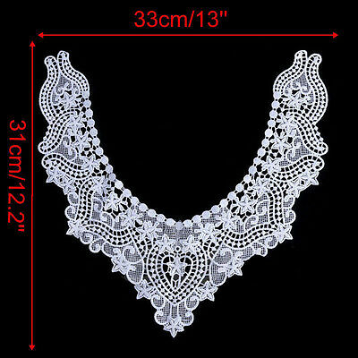 Collars Flower Trim Lace Floral Collar Sewing Embroidered White Lace Neckline