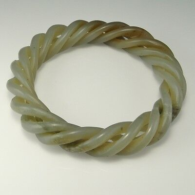 Fine Antique Qing Dynasty Twist Celadon Nephrite Jade Bangle Bracelet Victorian