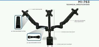 Mount-It! MI-763 Triple Monitor Desk Mount Arm LCD Computer Display Stand *NEW*