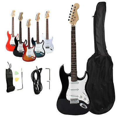 New Blue White Black 6 Color Rose Wood Fingerboard Electric Guitar + Accessories