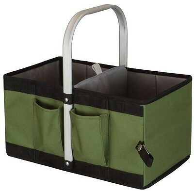 Garden Caddy Seat Tote Bag Lawn Basket Hand Tool Carrier Aluminum Handle Storage