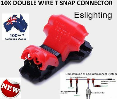 10X 12V T Piece Twin Wire Cable Easy Snap Connectors Terminal Joiner Solderless