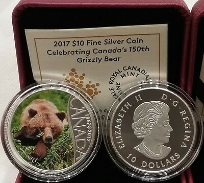 2017 Grizzly Bear $10 1/2OZ Pure Silver Proof Coin Celebrating Canada's 150th