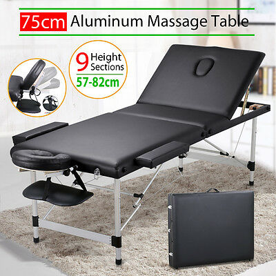 AU Massage Table Portable Aluminium 3-Fold Bed Therapy Waxing 75cm w/Carry Bag