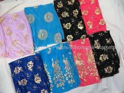 US Seller-10pcs stylish gold print fashion scarf neck scarves for women