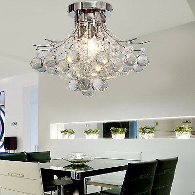 Crystal Chandeliers Ceiling 3 Lights Flush Mount Contemporary Chrome Living Room
