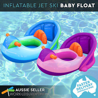 Airtime 2 Colours Baby Jet Ski Float Swim Kids Ring Pool Water with Shade
