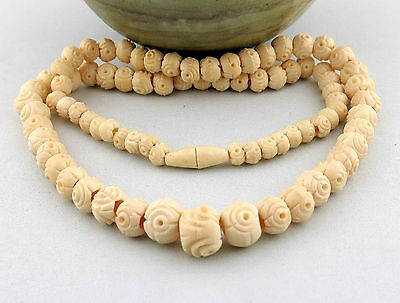 "18.75"" Vintage Asian Chinese Tibetan Carved Yak Bone Graduated Beads Necklace"