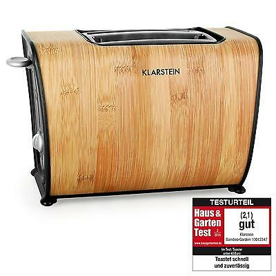 Bamboo Styled Wood 2-Slice Toaster Wide Double Slot Bagel Crumpet Toast 870W