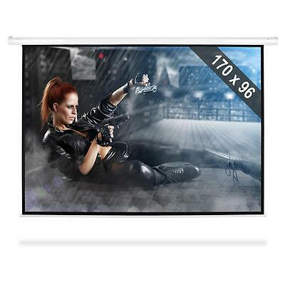 """Mountable Motorised Projection Screen With Remote Control Wall Switch 77"""" 16:9"""
