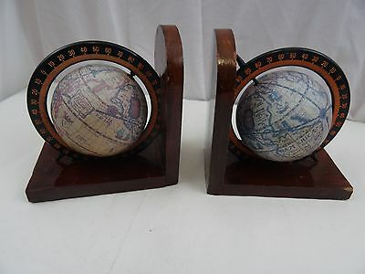 Pair Of World Globe Book Ends On Wooden Base