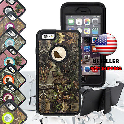 For Apple iPhone 7 7 Plus Heavy Duty Protective Shockproof Defender  Camo Case