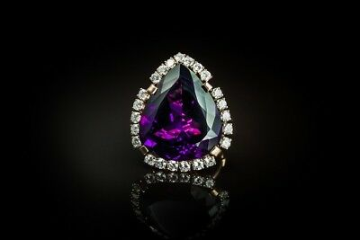 Superb Costume Jewels Gold Huge Amethyst  Diamond Ring Great Gift Idea